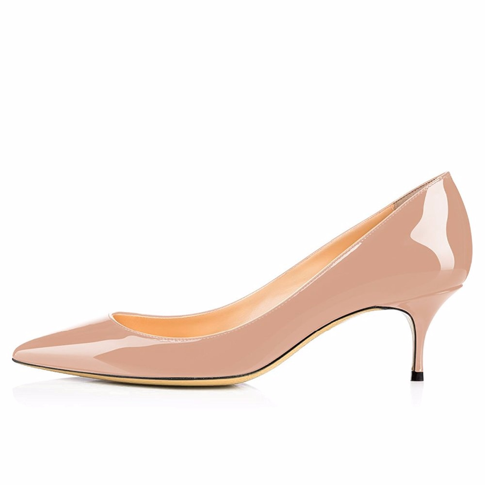 купить Maguidern Pumps Shoes 2.5 inches Kitten Heels, Slip On Pointed Toe Office Dress Stiletto Pumps Patent Leather Shoes по цене 4487.84 рублей