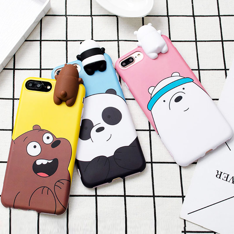 3D Cute Cartoon Silicone Case for Samsung Galaxy S7 edge S8 S9 Note9 8 for iPhone