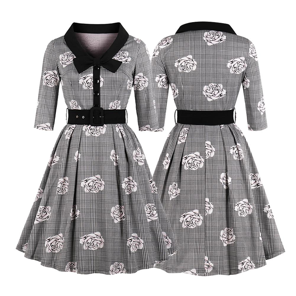 Us 2208 35 Offwomens Large Size Vestidos 60s Retro Old Fashion Style Collage Girls Bowtie Plaid Rose Half Sleeves High Waist Dress With Belt In