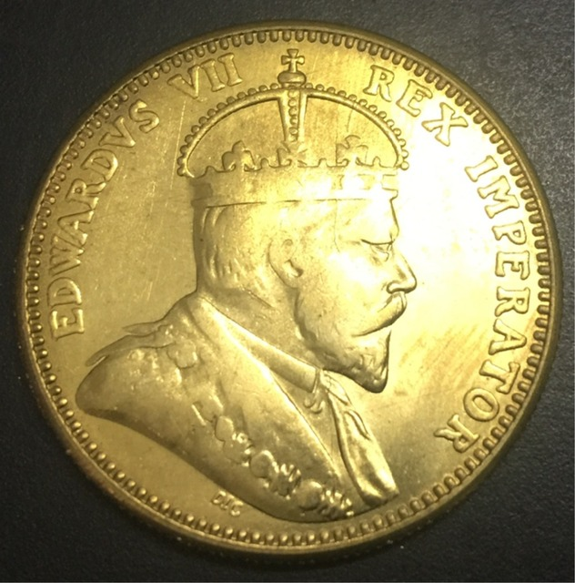 1908 Cyprus 1 Piastre - Edward VII Bronze Copy Coin 32mm