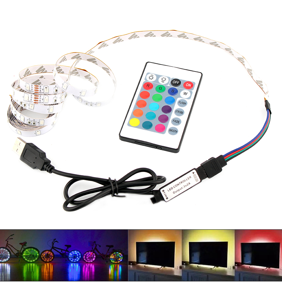 RGB USB LED 5V Strip Light 5 V Led TV Backlight 2835 Lighting Lights Tape Diode Ribbon