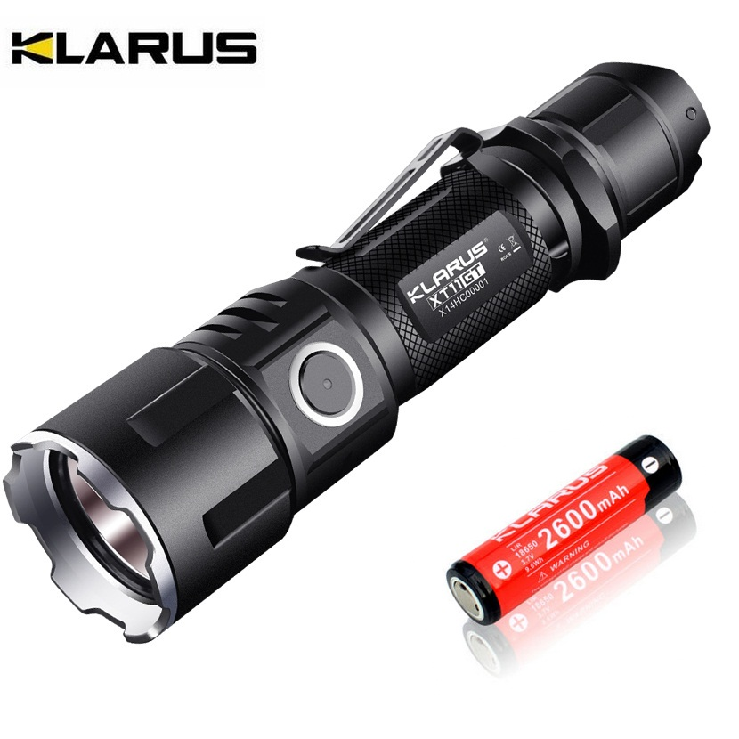 KLARUS XT11GT Tactical LED Flashlight 2000LM CREE XHP35 Torch with USB charging  + 2600mAh 18650 Battery for Hunting Searching new klarus xt11gt cree xhp35 hi d4 led 2000 lm 4 mode tactical led flashlight free usb port and 18650 battey for self defence