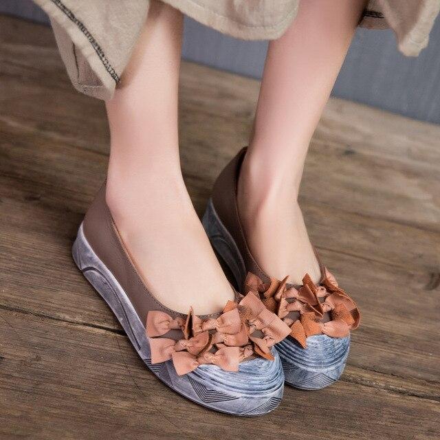 Original Female Genuine Leather Shoes Handmade Women Shoes Bowtie Color Shoes 2017 New Flats T9756-2