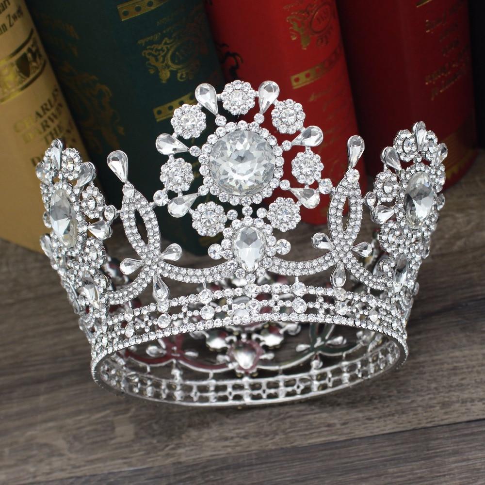 Luxury Crystal Wedding Bridal Queen King Tiara Crown Bride Headpiece Women Prom Diadem Hair Oranments Head Jewelry Accessories