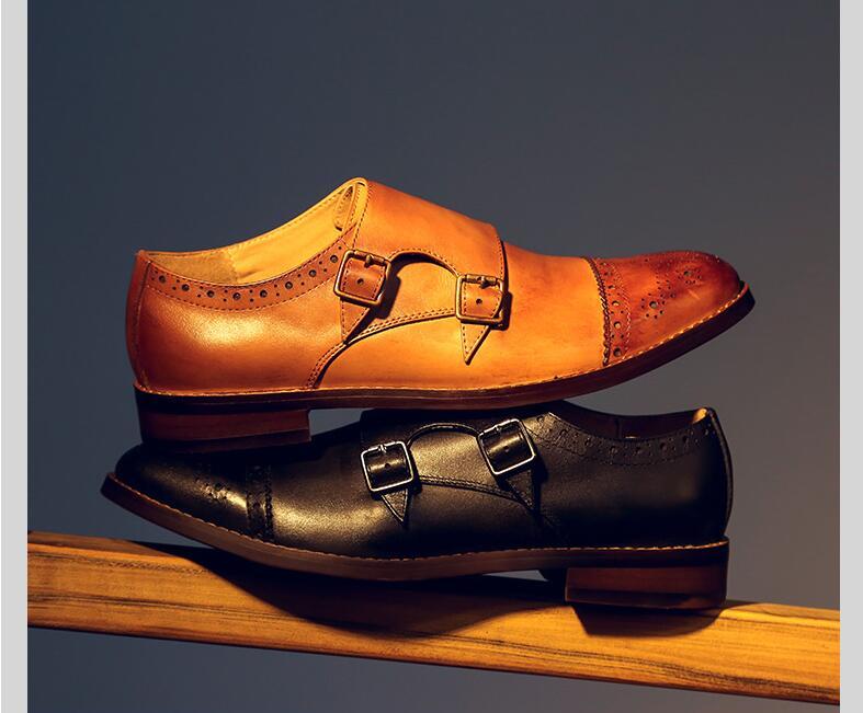 Salto Esculpida Couro Sapatos Mão À Preto Crescente Vestido De Vintage Genuíno Inteligente Baixo Fivela Casual Feito Do as Deslizar Pulseira Sobre Pic Brogue Altura E 0xOttP