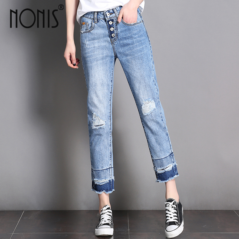 Nonis 2017 women Summer loose straight wide leg Jeans Holes ripped female Inelastic Ankle Length denim pants Plus size plus size casual loose wide leg pants summer new women s boyfriend spliced holes blue jeans high waist ankle length trousers