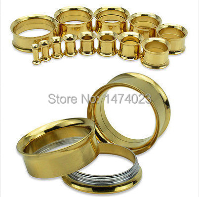 New Product Fashion Stainless Steel 316L Double Flared gold Ear Stretcher Flesh Tunnel Plugs Expander mix order wholesale