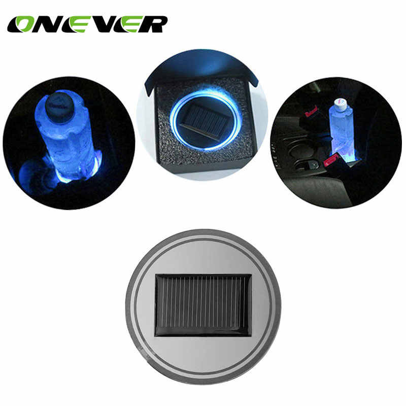 Onever Universal Waterproof Solar LED Car Cup Holder Mat Pad Bottle Drinks Coaster Built-in Vibration Light Sensor Car Cup Mat
