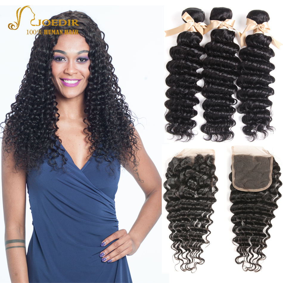 Joedir Hair Deep Wave Bundles with Closure Indian Hair Bundles with Closure 3 Bundles with Lace Closure Free Part Natural Color
