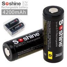 Baterias de Lítio Bateria com Caixa Soshine 2 Pçs e set 26650 4200 MAH 3.7 V Protegido Li-ion Recarregável DA de Bateria