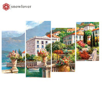 5D Diy Diamond Painting Harbor Town Pictures Of Rhinestones 4pcs Square Cross Stitch Needlework Home Decor