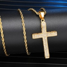 цены Full Rhinestone Stainless Steel Bling Iced Out Cross Pendants & Necklaces Gold Color Chain For Men Hip Hop Jewelry Dropshipping