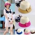 Tendencia decoración del bloque del color del niño paja sunbonnet sombrero de paja de ala del verano superventas del verano del sombrero del sol