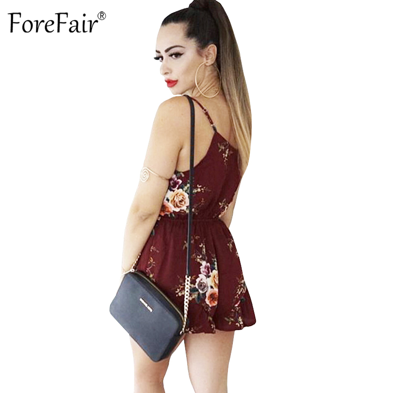 09ad5c9eceb1 ForeFair Floral Print Strap V Neck Backless Rompers Women Jumpsuits Summer  Casual Playsuit-in Rompers from Women s Clothing on Aliexpress.com