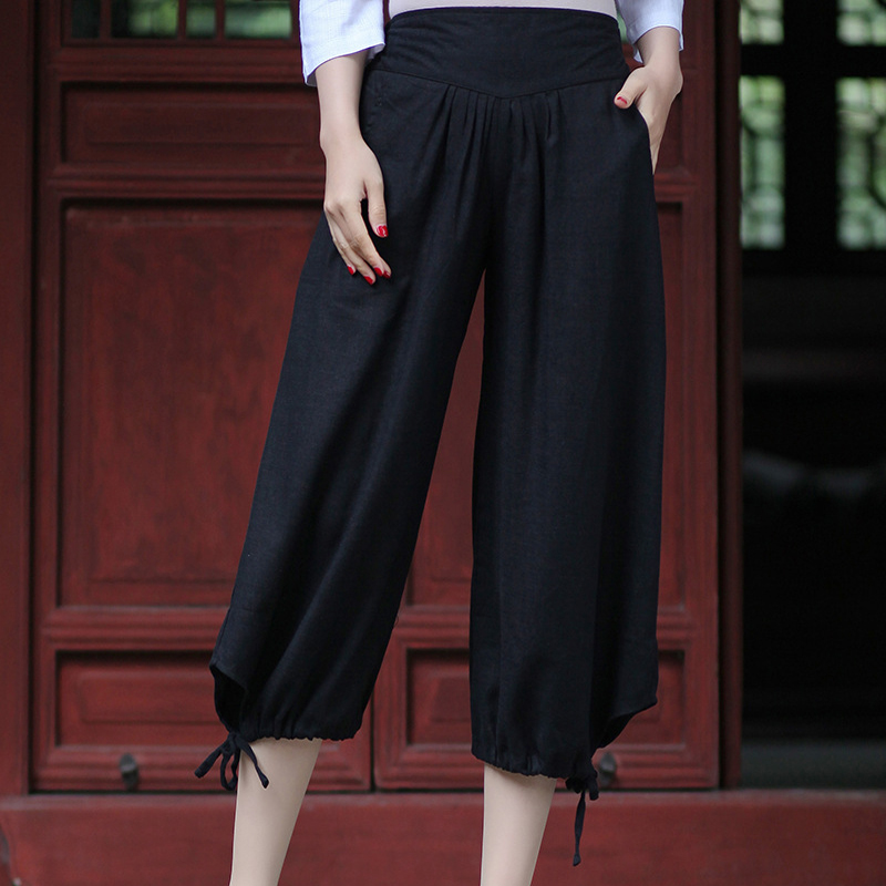 Black Summer New Cotton Linen Women Capris   Pants     Wide     Leg     Pants   Elastic Waist Calf-Length Trousers S M L XL XXL 2609