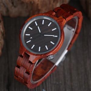 Image 2 - Mode frauen Uhr Natürliche Sandale Holz Bambus Holz Uhren Damen Armband Armbanduhr Quarz Analog Casual Uhr Uhren