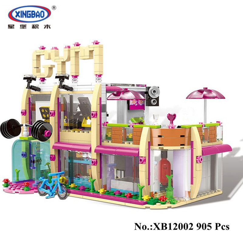 DHL IN STOCK XINGBAO 12002 New 905Pcs City Girl Series The Gym Club Set Building Blocks Bricks Toys Model For Children Gifts dhl lepin 18032 2932 pcs the mountain cave my worlds model building kit blocks bricks children toys clone21137 in stock