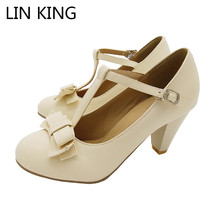 Купить с кэшбэком Hot Sale Autumn Women Pumps PU Pointed Toe T-Strap Buckle Bowtie Sweet Lolita Shoes Thick Square Heel Platform Shoes Plus Size