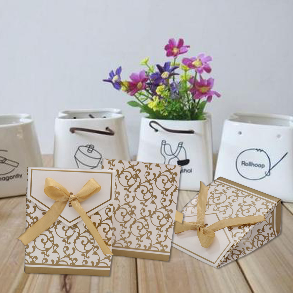 Hot sale 50pcs Gold silver Chocolates Cookie Candy Box Wedding ...