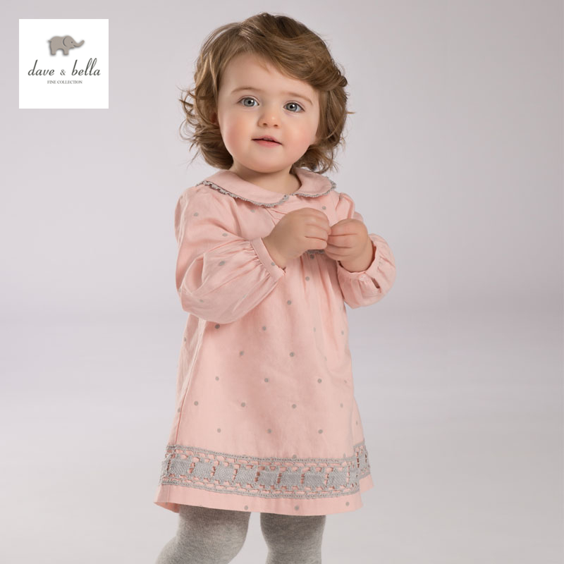DB3943 dave bella autumn baby girl pink dress infant clothes girls lace dress