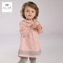DB3943 дэйв белла осень девочка розовое платье детская одежда девушки кружевные платья детские фонарь рукавом платье день рождения