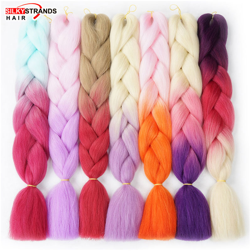 Silky Strands 24'' 100g Ombre Synthetic Braiding Hair Extensions For Crochet Braids Kanekalon Jumbo Braids Two Tone Ombre Color(China)
