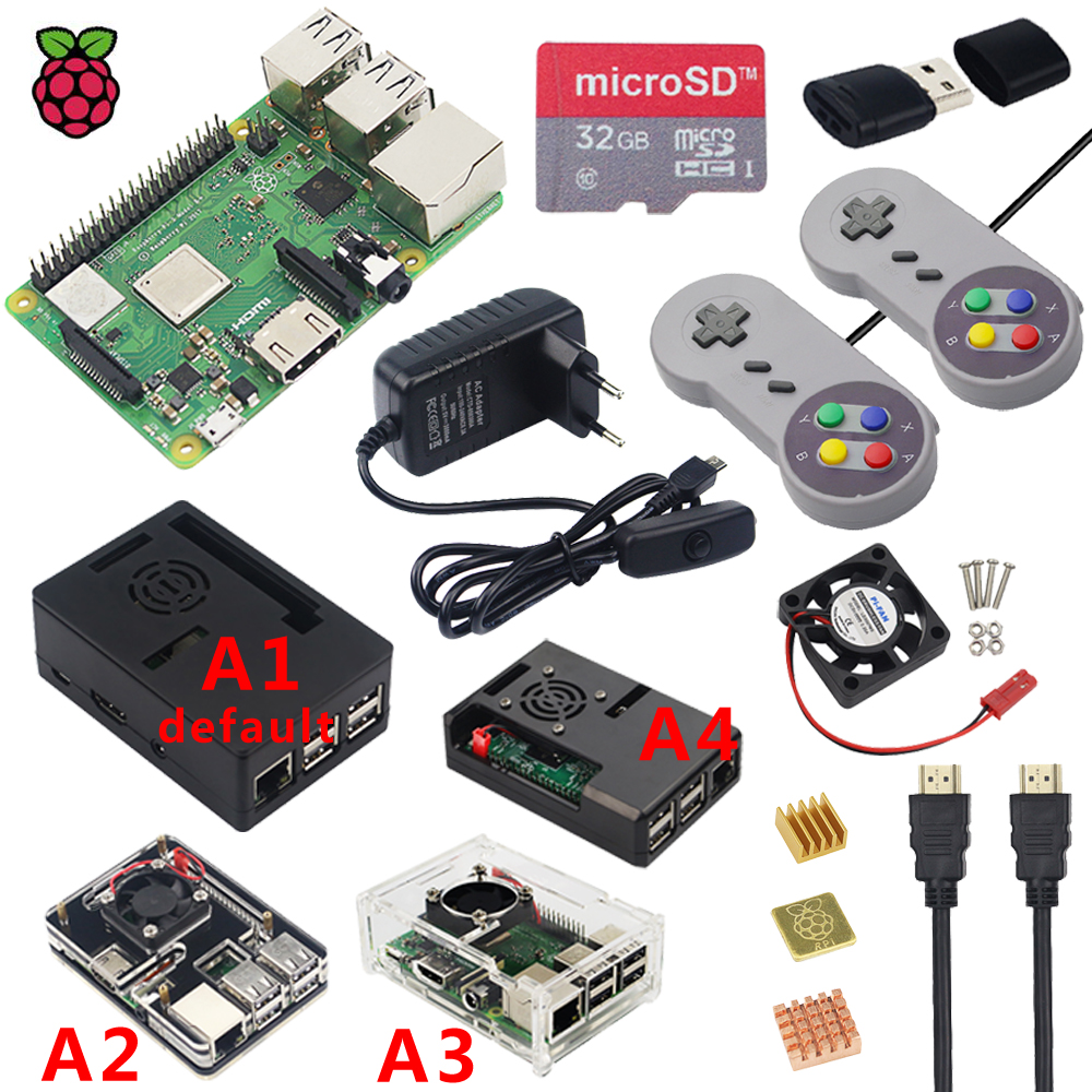 Original Raspberry Pi 3 Model B Plus WiFi Bluetooth Case Fan Power Supply Heatsink for Raspberry