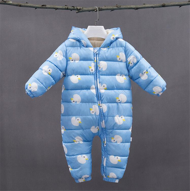 24a37d0f081e Newborn Clothing Winter Baby Girls Boys Rompers Hooded Infant ...