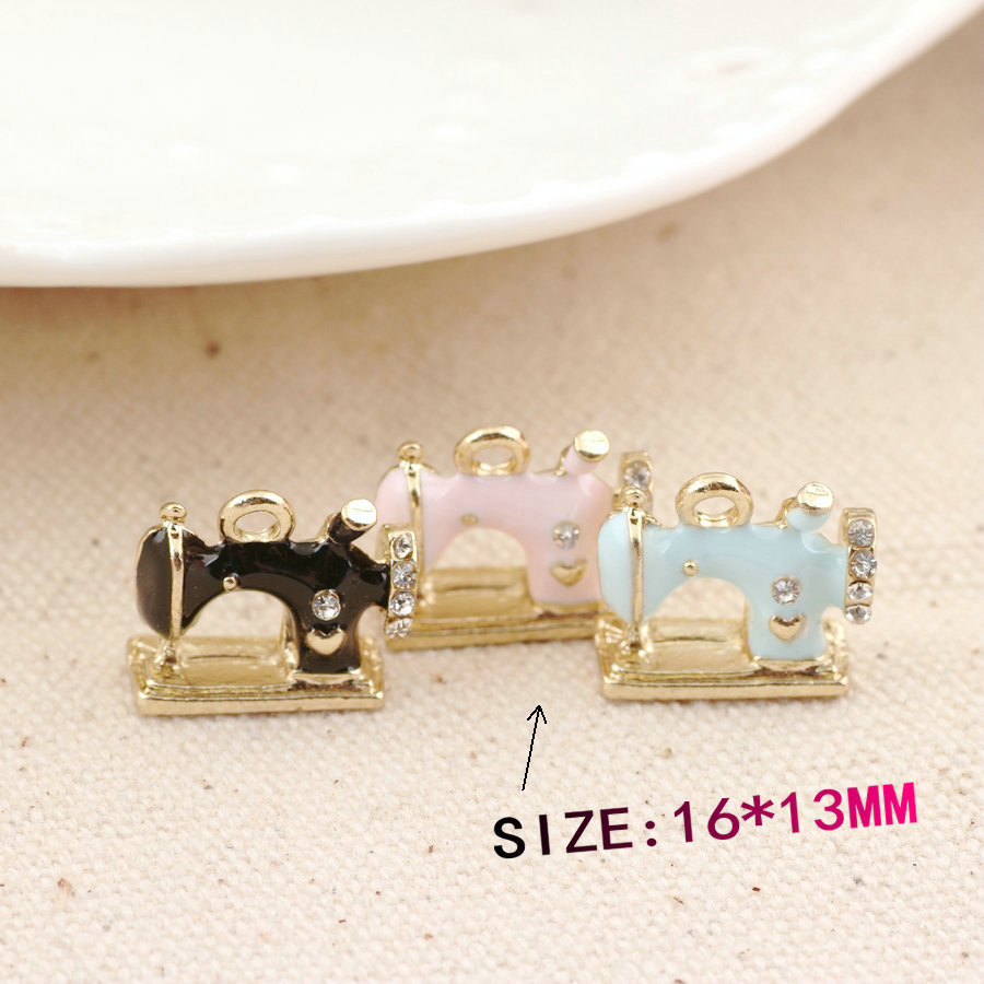New Fashion Enamel Alloy Charms DIY Jewelry Findings Oil Drop Metal Sewing Machine Charm ...