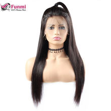 Funmi Lace Front Human Hair Wigs 360 Lace Frontal Wigs Straight Full Lace Front Wigs With Baby Hair Malaysian Remy Lace Wigs(China)