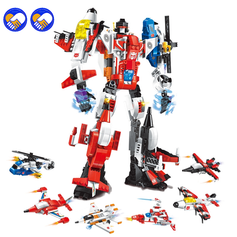 A toy A dream Enlighten Mecha Educational Building Blocks Toys Robot Transform Helicopter Aircraft Plane Destroyer Hero Lepin 5pcs lots 2017 film extraordinary corps mecha five beast hand collection model toy