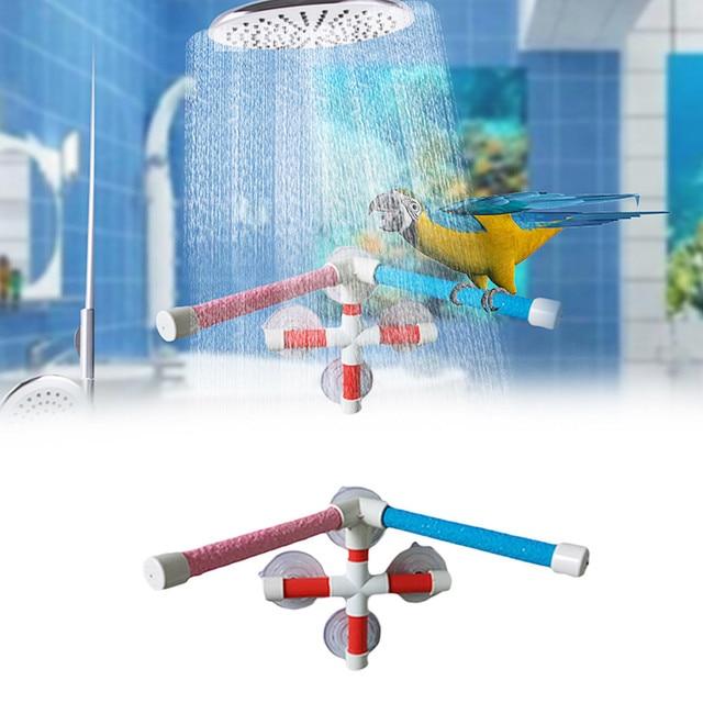 High Quality Parrot Bath Shower Standing Platform Rack Parrot Climbing and Biting Shower Perch Parakeet Bird Toy Random Color 2