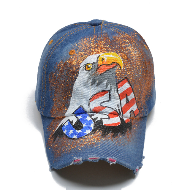 USA Lettering Baseball Cap USA Hand painted