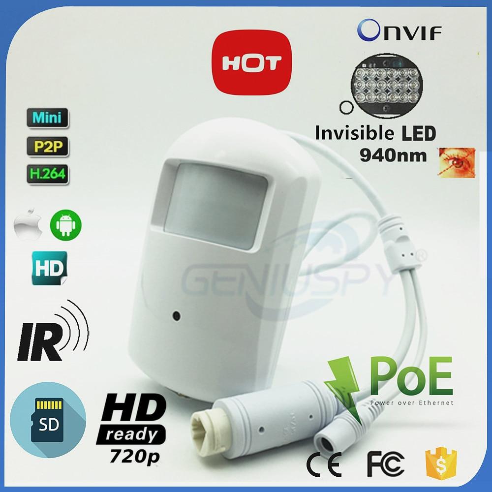 FIRSTSHARK HD POE 720 P 1.MP PIR POE IP Камера мини аудио SD карты Запись ONVIF 2,0 Крытый ИК ночное видение 940nm P2P удаленного