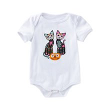 Cute Animal Baby Bodysuits Newborn Boy Girl Cotton Cat Print Jumpsuit Black White Short Sleeve Bodysuit Cotton Clothes Outfits(China)