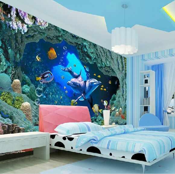 Papel фрески де parede голубые морские рыбки 3d настенные Мультфильм Настенные обои для