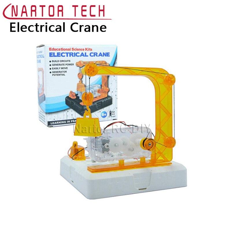 Montiert Elektrischen Kranen Naturwissenschaft Experiment Kit Pädagogisches Spielzeug Blöcke kinder Spielzeug Geschenk Kreative Modell