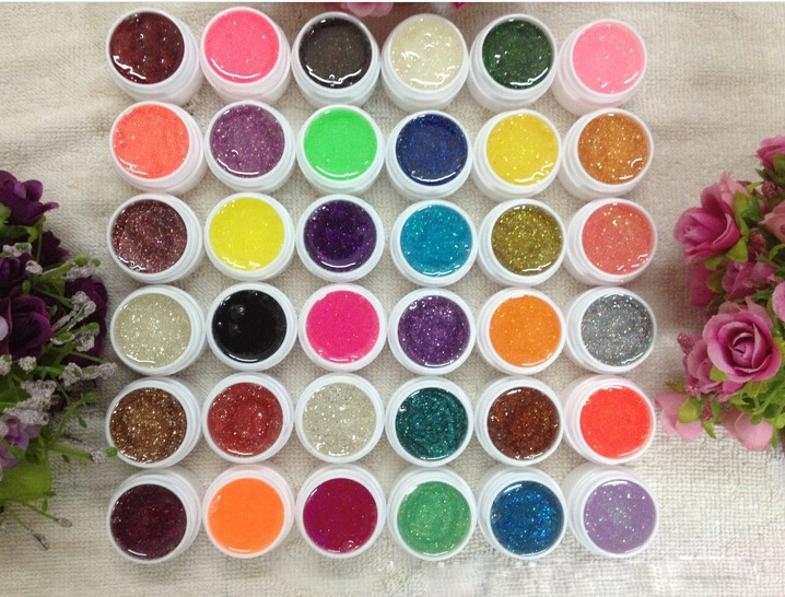 High Quality 36PCS Nail Art Glitter UV Gel  Nail Polish Nail UV color gel set vernis semi permanent  esmaltes permanentes de uv 12pcs lot green series uv gel nail polish led lamp gel lacquer gel polish vernis semi permanent gel varnish nail primer base top