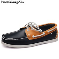 Genuine Leather Men Boat Shoes 2018 Brand Design Hand Sewing Slip On Mens Loafers Casual Driving Moccasins Business Men Shoes 45