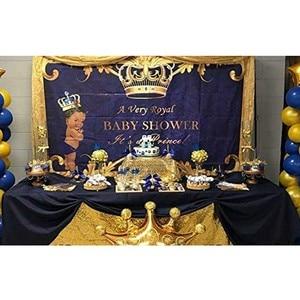 Image 4 - NeoBack خلفية زرقاء ملكية ماسية للأولاد والبنات ، الأمير الذهبي ، خلفية استحمام الطفل ، لافتة ضوئية لحفلات أعياد الميلاد