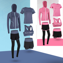 2-5pcs Women 5Piece Yoga Set Gym Fitness Clothes Sport TShirt Running Long Pants Tight Jogging Workout Yoga Leggings Sport Suit цена
