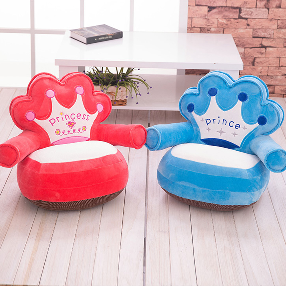 Only Cover NO Filling Baby Sofa Cushion Feeding Kids Cartoon Soft Crown Bear Chair Children Cheap Puff Seat Skin Cover Sofa