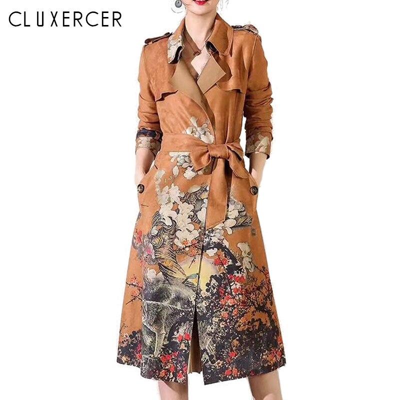 2018 New Suede long   Trench   coats Women Vintage Print Elegant Adjustable Waist Slim long overcoat women plus size windbreaker
