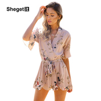 Shegetit Boho Red Floral Print Ruffles Playsuits Women Elegant Autumn V Neck Jumpsuits Rompers Sexy Beach