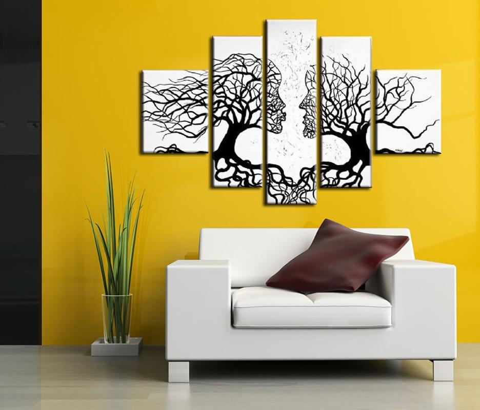 blanco y negro arte de la pared pieza del anime pintura al leo sobre lienzo hecha a mano de la decoracin casera moderna de e