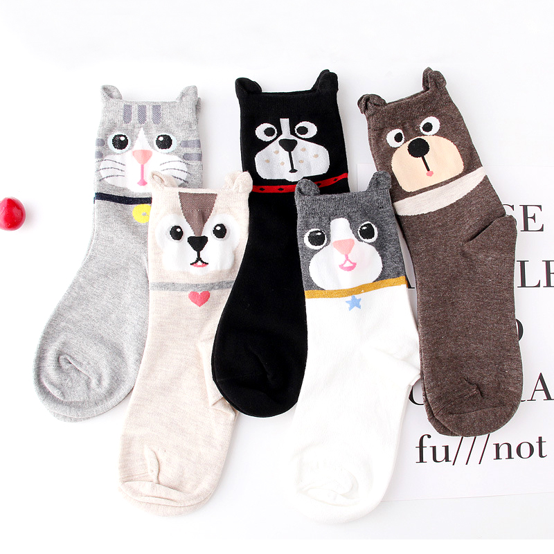 Hot 3D Animal Cat Dog   Socks   Unisex Lovers Harajuku Cute Cat Dog Face 3D Earring Heart Short Novelty Girls   Socks
