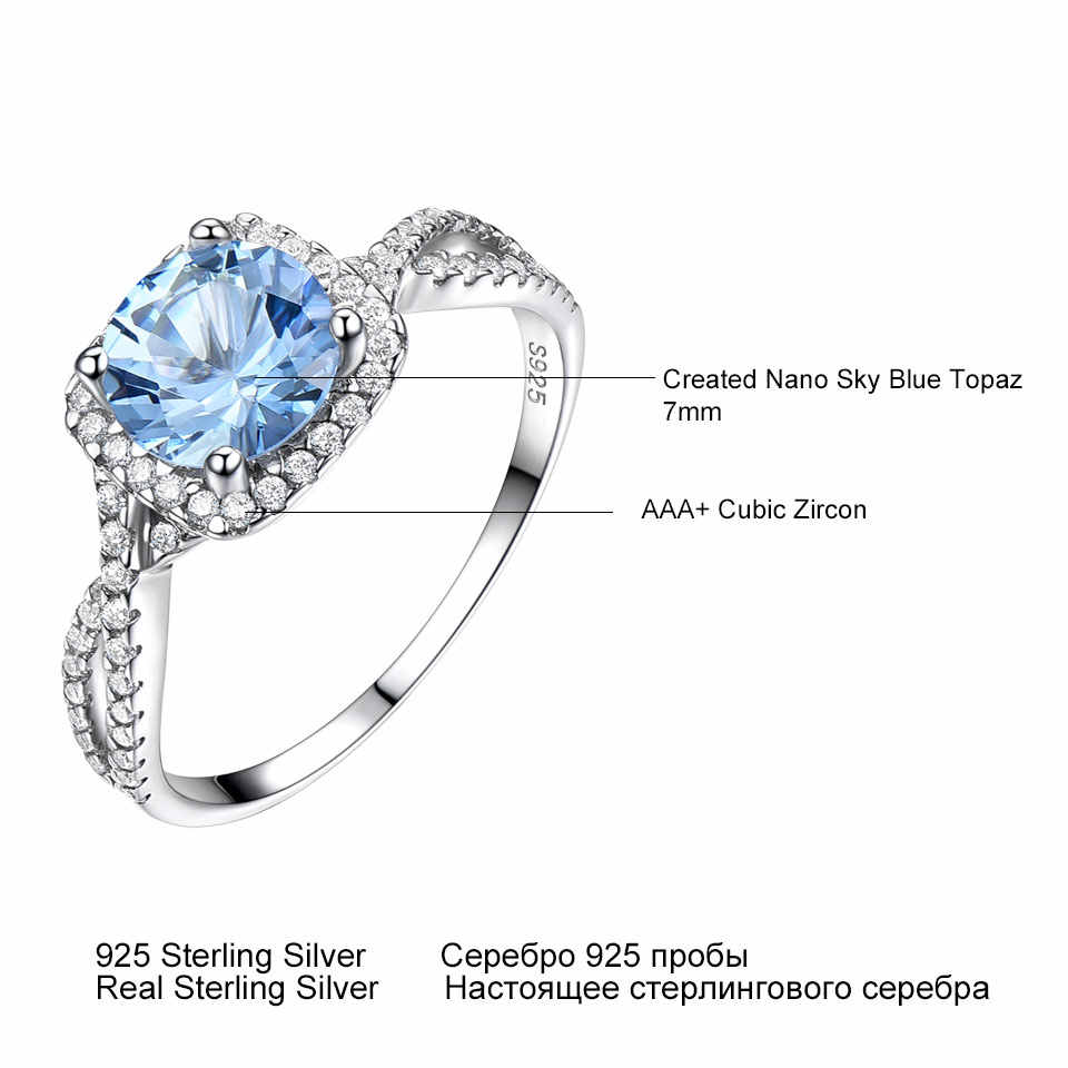 UMCHO Solid 925 เงินสเตอร์ลิงแหวนเงินผู้หญิง Sky Blue Topaz Aquamarine อัญมณีงานแต่งงานวันเกิด Party ของขวัญเครื่องประดับ