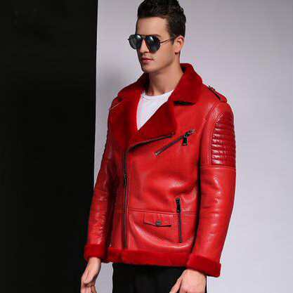 Akrasanee Autumn And Winter Genuine Leather Sheepskin Wool One Piece Men Genuine Leather Clothing Male Genuine Leather Fur Coat