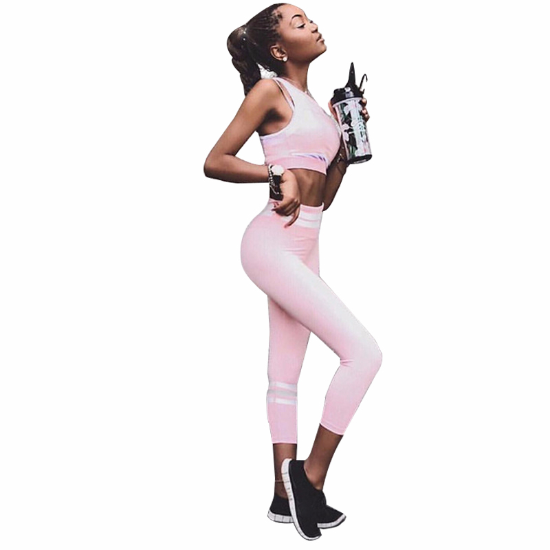 SALSPOR Women Sports Sets Two Piece High Waist Stripe Printed Sportwear Yoga Suit Women Slimming Fitness LeggingsSALSPOR Women Sports Sets Two Piece High Waist Stripe Printed Sportwear Yoga Suit Women Slimming Fitness Leggings