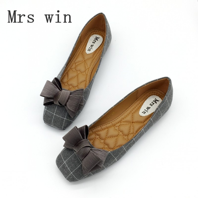 Mrs Win Autumn Brand Woman Flats Shoes Slip On Wome